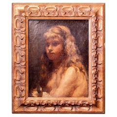 19th Century European School Painting of a Young Girl