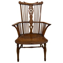 19th Century European Yew Wood High Back Windsor Armchair