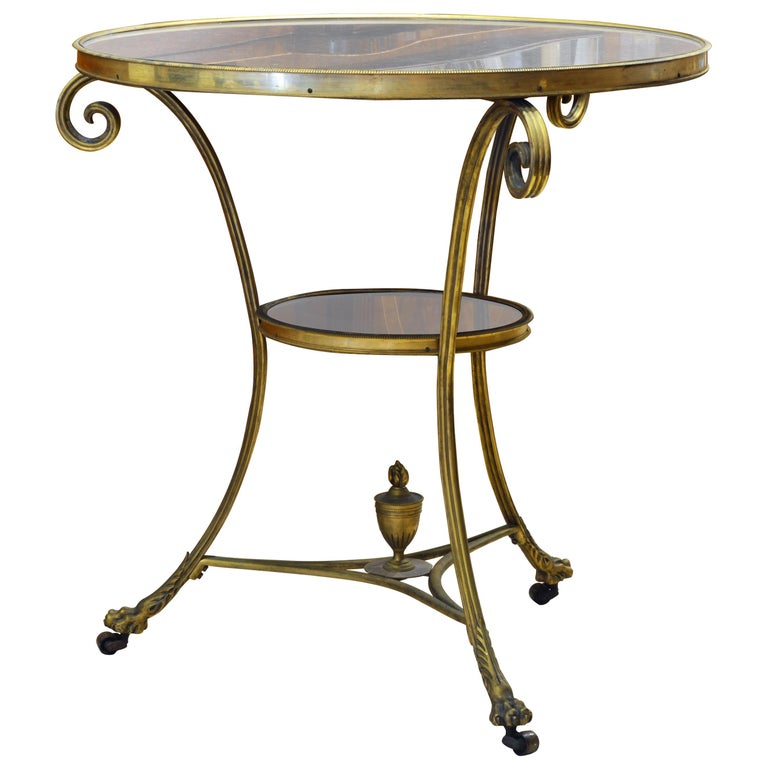 19th Century Excellent French Empire Bronze and Marble Two-Tier Gueridon Table For Sale