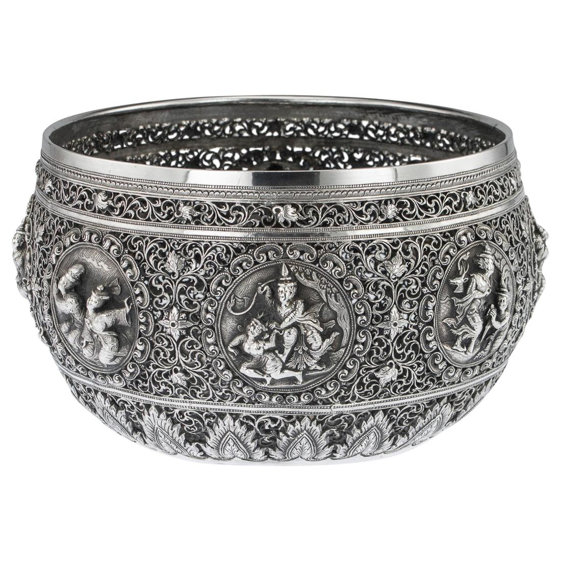 19th Century Exceptional Burmese Solid Silver Handcrafted Bowl, circa 1890
