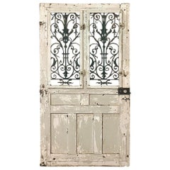 19th Century Exterior Door with Cast Iron Inserts