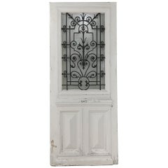 19th Century Exterior Door with Wrought Iron