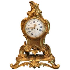 19th Century F. Barbedienne Louis XV Bronze Ormolu Large Mantel Clock, France
