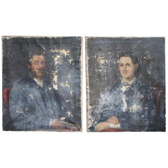 19th Century Faded English Country House Half Length Portraits, Husband & Wife
