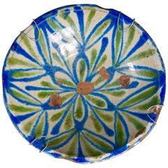 19th Century Fajalauza Spanish Ceramic Bowl Green and Blue