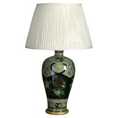 19th Century Famille Noire Porcelain Vase Lamp