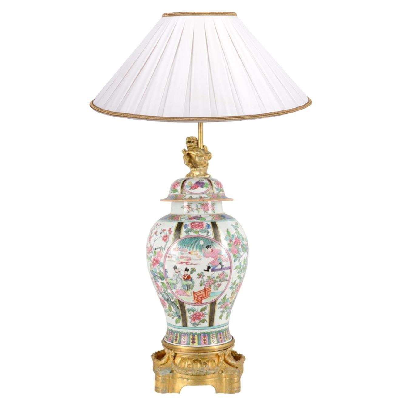 19th Century Famille Rose Style Samson Porcelain Vase / Lamp