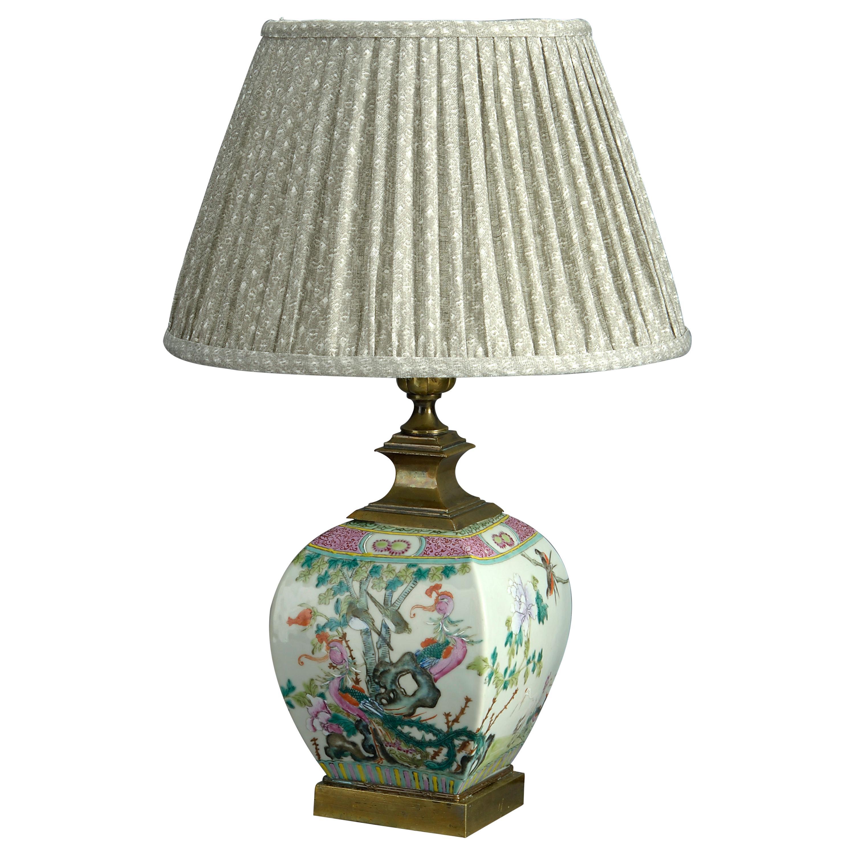 19th Century Famille Rose Vase Lamp