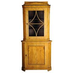 19th Century Fancy Biedermeier Corner Cupboard, Showcase, Birch