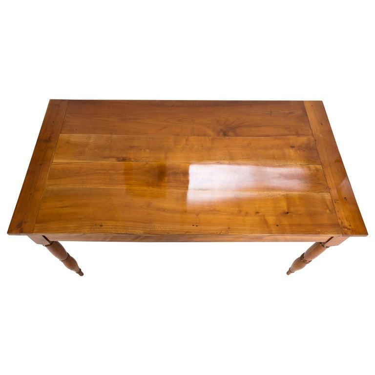 German 19th Century Farmhouse Biedermeier Solid Cherrywood Table For Sale