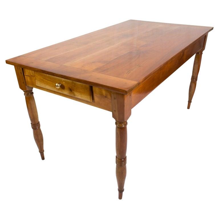 Spruce 19th Century Farmhouse Biedermeier Solid Cherrywood Table For Sale