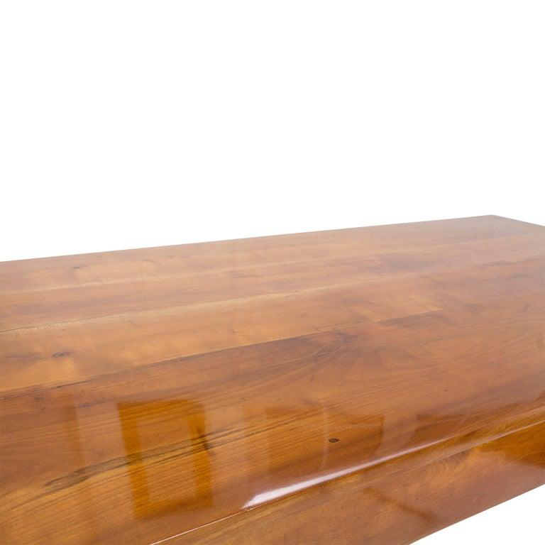 19th Century Farmhouse Biedermeier Solid Cherrywood Table For Sale 1