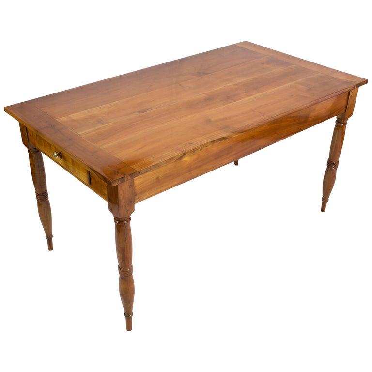 19th Century Farmhouse Biedermeier Solid Cherrywood Table For Sale