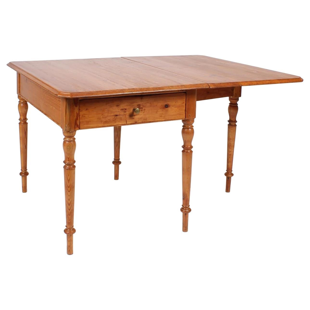 19th Century Farmhouse Dining or Kitchen Table, Drop-Leaf, Sweden, Pine