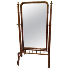 19th Century Faux Bamboo Cheval Mirror