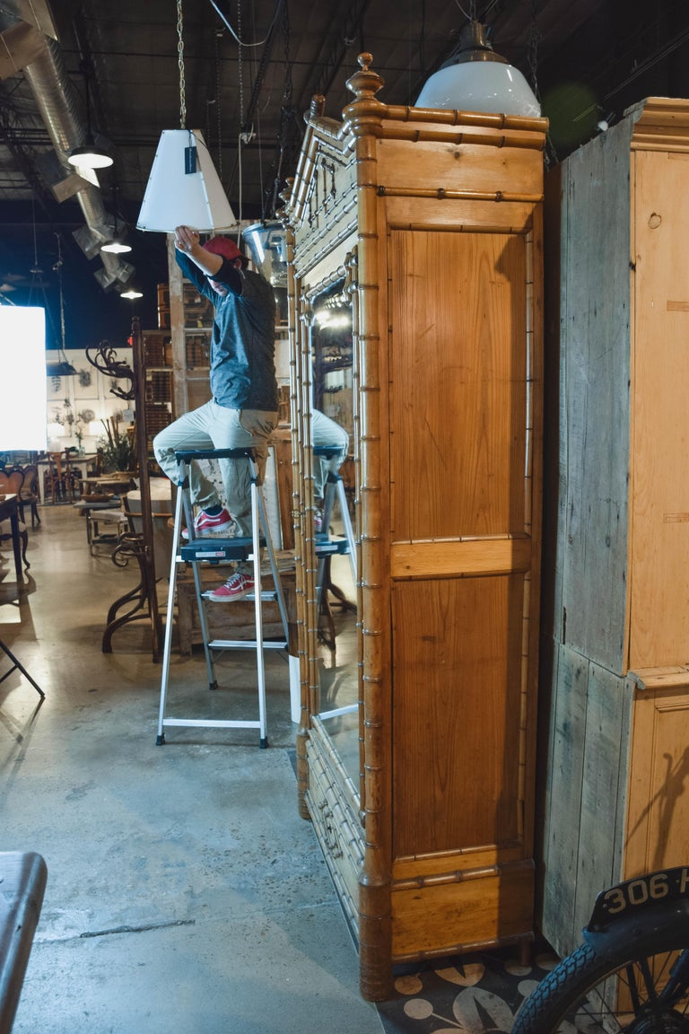19th Century Faux Bamboo Wardrobe For Sale 5