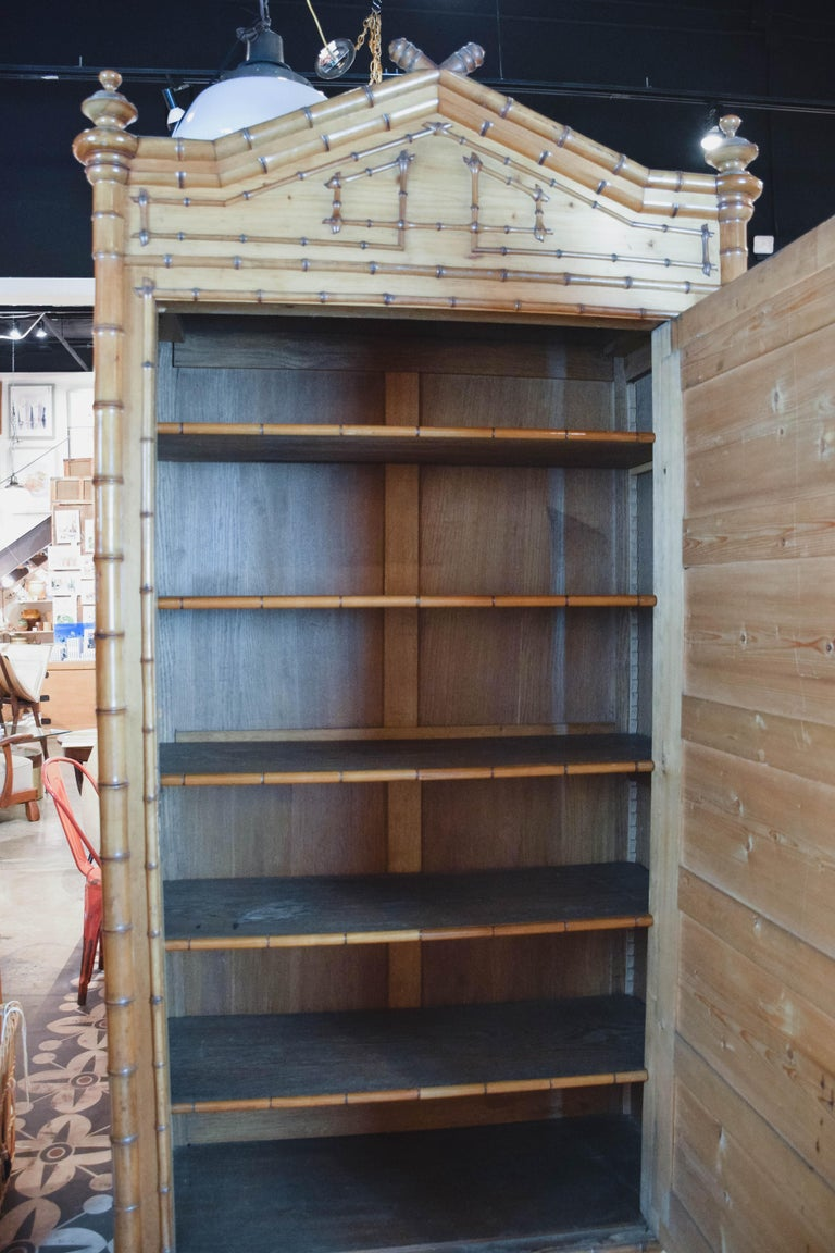 19th Century Faux Bamboo Wardrobe For Sale 7