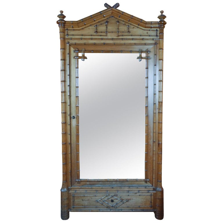 19th Century Faux Bamboo Wardrobe For Sale