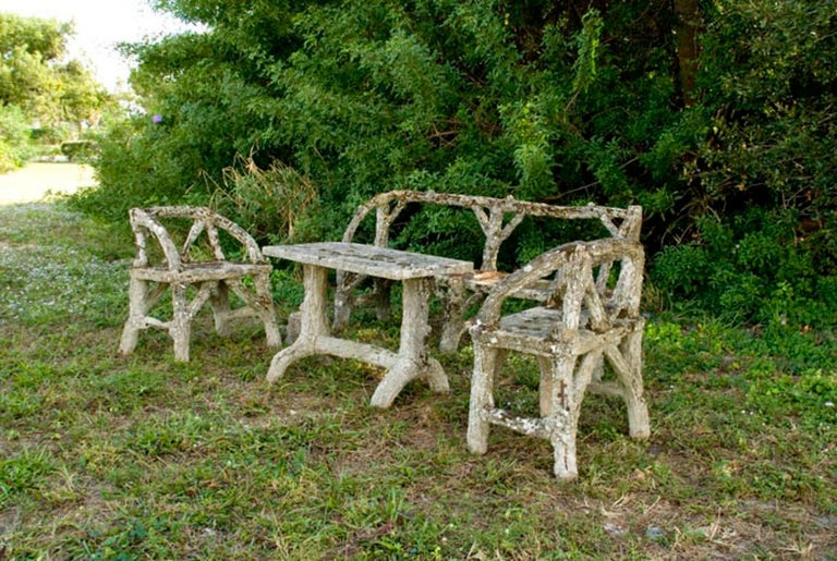 Restauration 19th Century Faux Bois, Antique French Garden Furniture Set For Sale