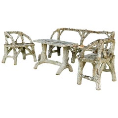 19th Century Faux Bois, Antique French Garden Furniture Set