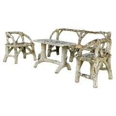 19th Century Faux Bois, Antique French Garden Furniture Set