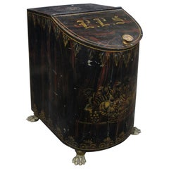 19th Century Faux Bois Painted Tea Canister with Paw Feet