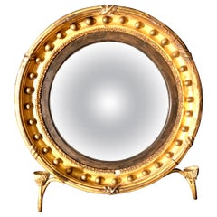 19th Century Federal Giltwood Bullseye Convex Mirror Wall Sconce