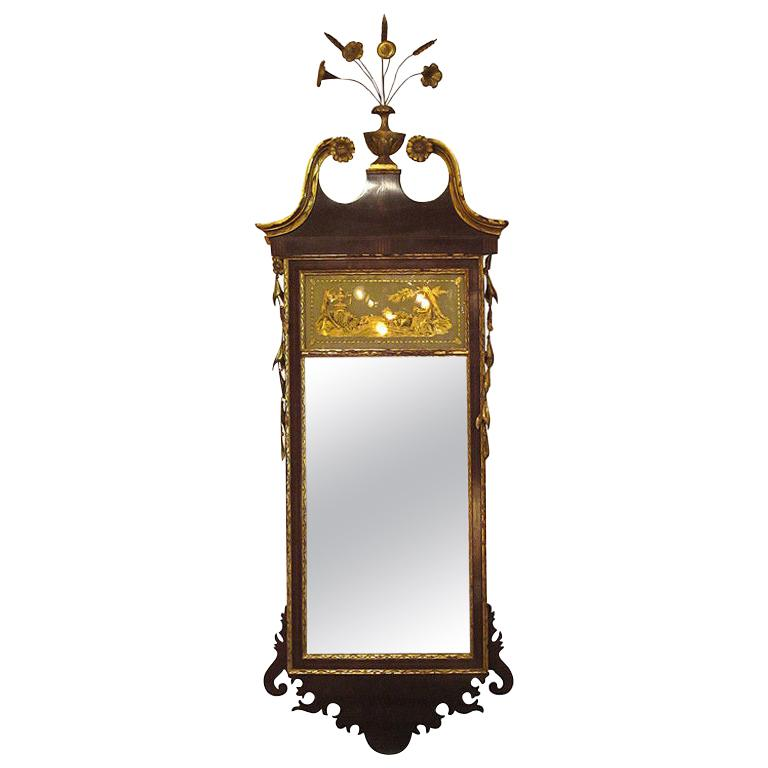 19th Century Federal Style Mirror with Gilt Detail & Églomisé For Sale