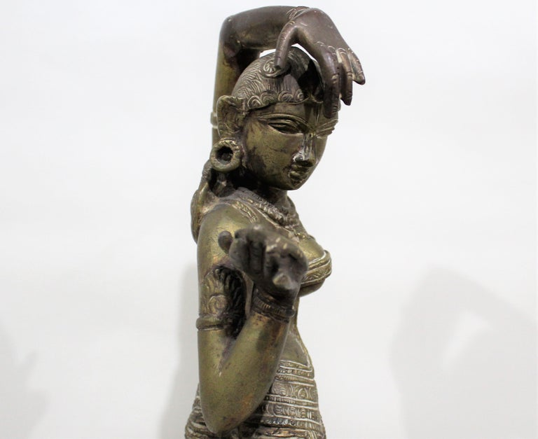 19th Century Female Bronze Indian Sculpture For Sale 8