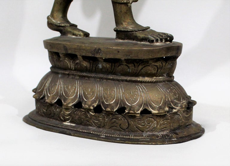 19th Century Female Bronze Indian Sculpture For Sale 11