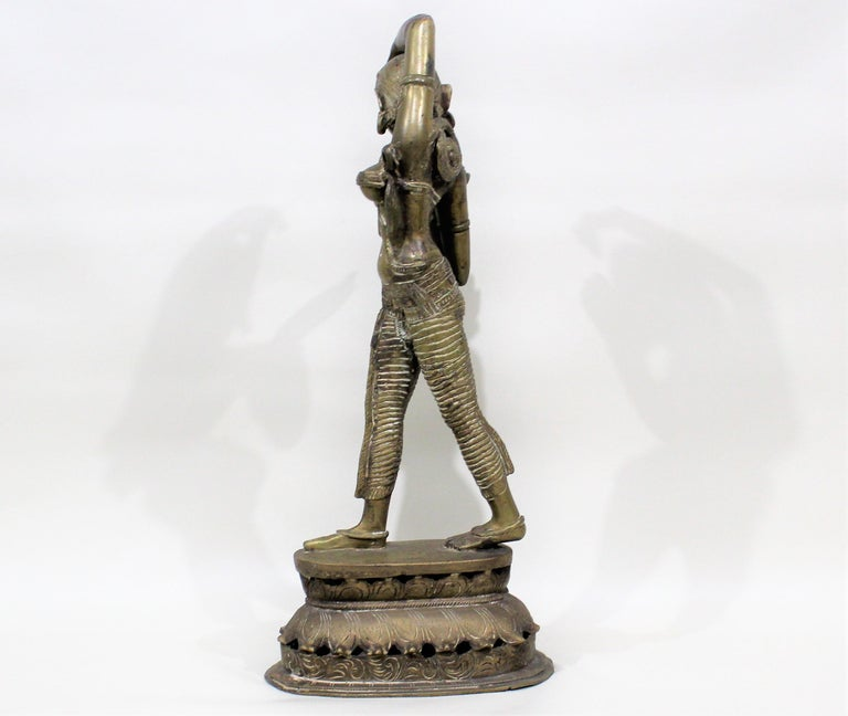 19th Century Female Bronze Indian Sculpture For Sale 2