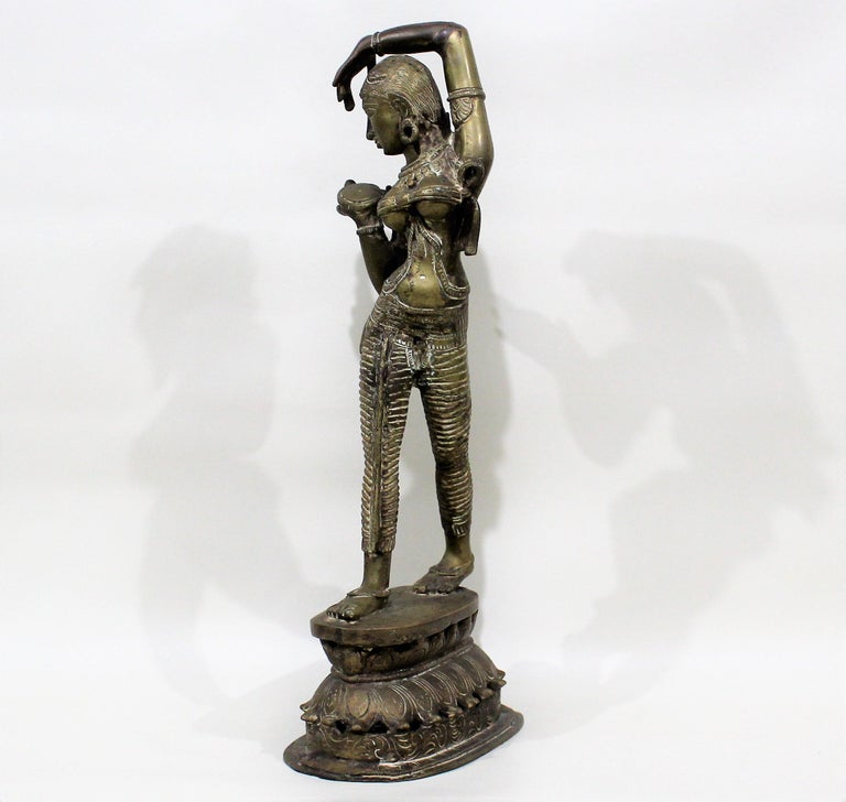 19th Century Female Bronze Indian Sculpture For Sale 4