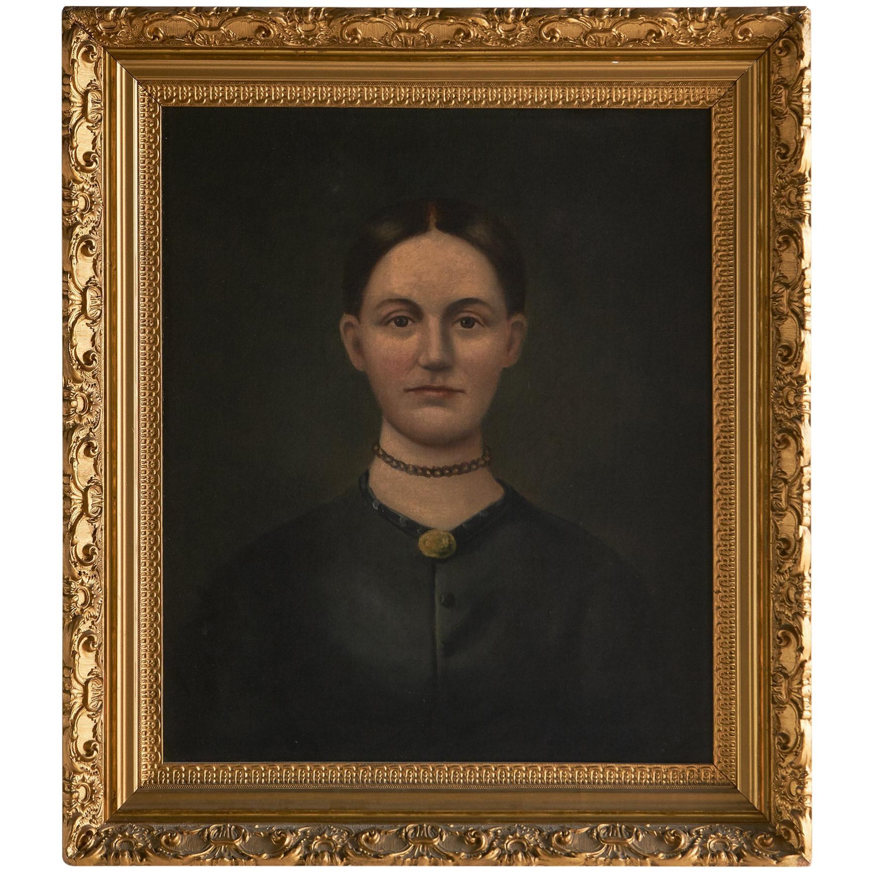 19th Century Female Oil Painting in Gilt Frame