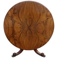 19th Century Figured Walnut Round Dining Table
