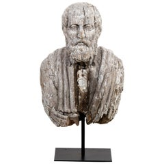 19th Century Figurehead Carved Wood Bust of a Classical Philosopher