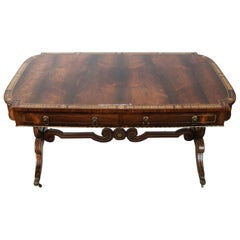 19th Century Fine English Regency Rosewood and Brass Inlayed Desk
