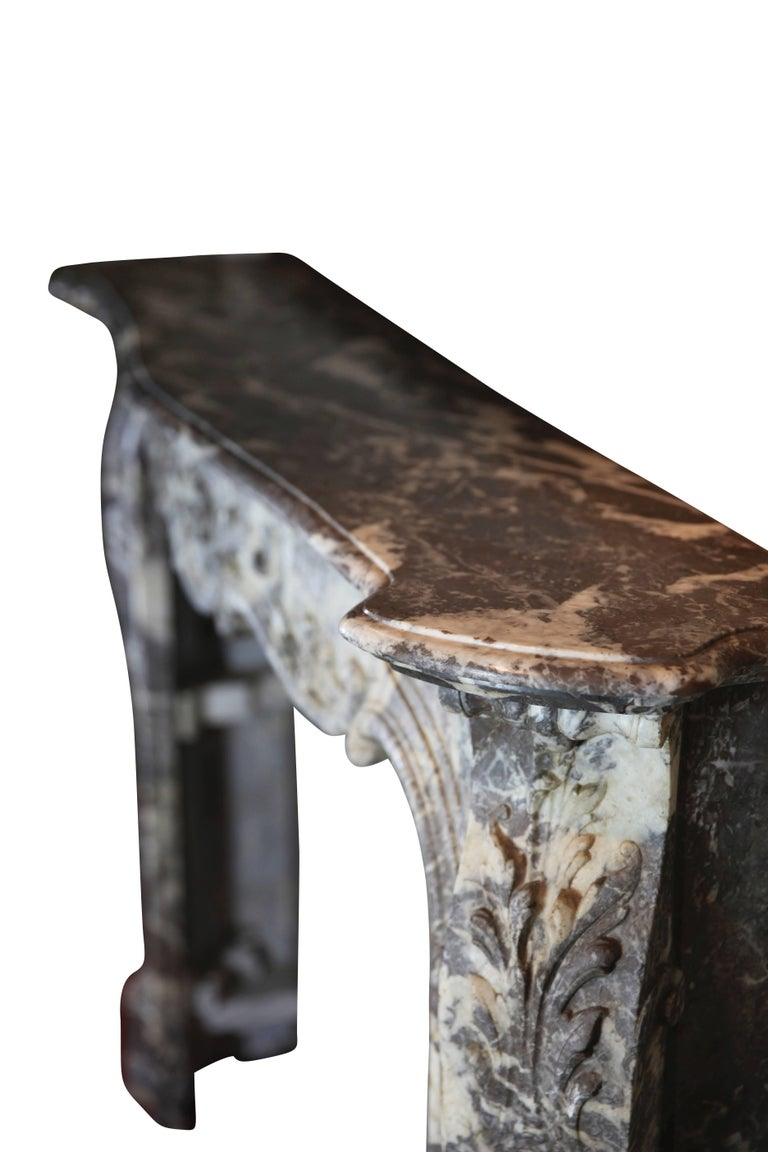 19th Century Fine European Grey Marble Antique Fireplace Surround For Sale 4