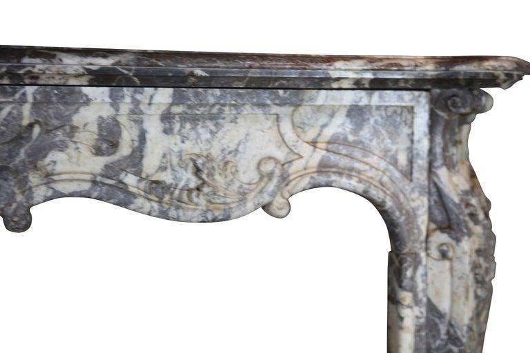 Regency 19th Century Fine European Grey Marble Antique Fireplace Surround For Sale