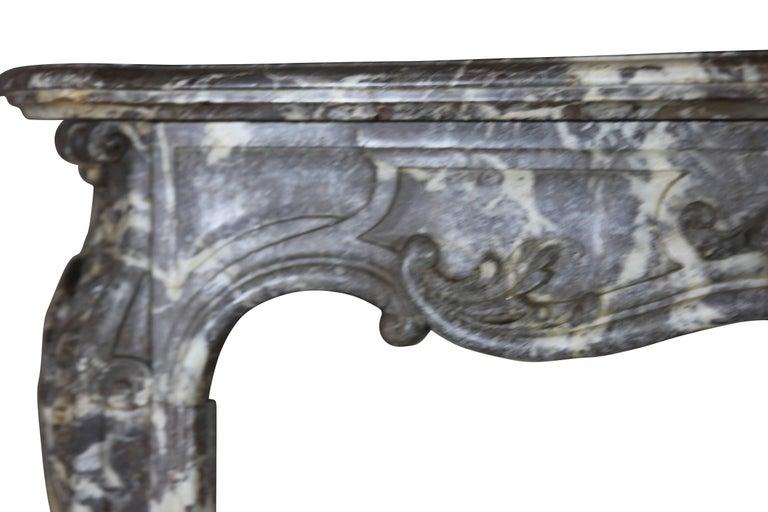 Belgian 19th Century Fine European Grey Marble Antique Fireplace Surround For Sale
