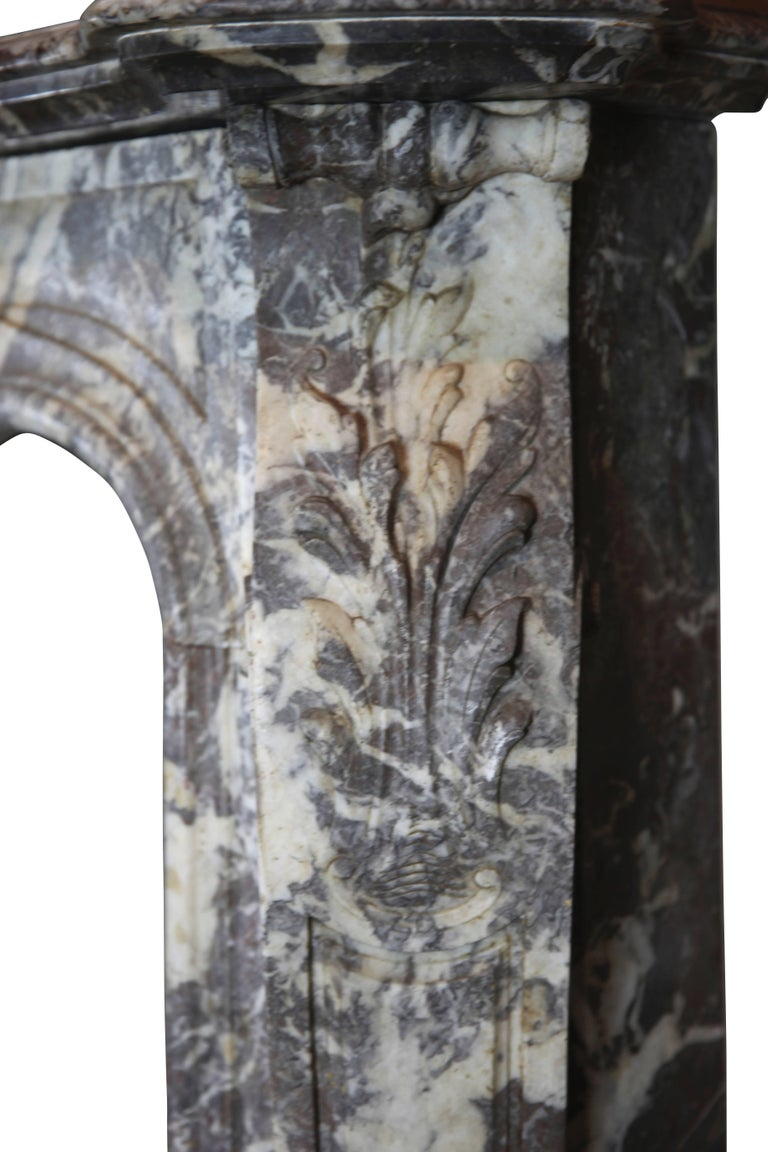 19th Century Fine European Grey Marble Antique Fireplace Surround In Excellent Condition For Sale In Beervelde, BE