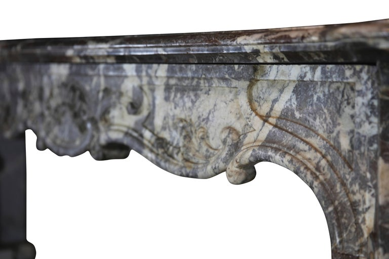 19th Century Fine European Grey Marble Antique Fireplace Surround For Sale 1