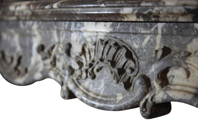 19th Century Fine European Grey Marble Antique Fireplace Surround For Sale 2