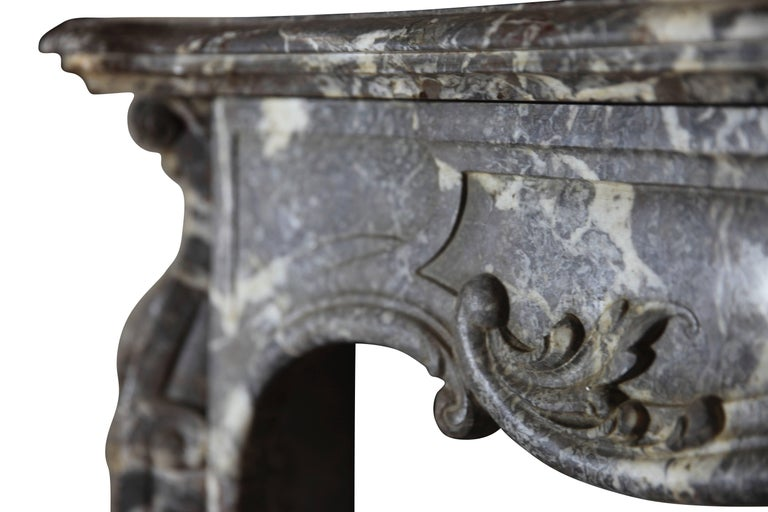 19th Century Fine European Grey Marble Antique Fireplace Surround For Sale 3
