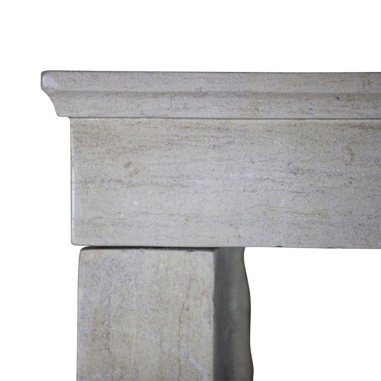 Hand-Carved 19th Century Fine French Antique Fireplace Surround in Limestone For Sale