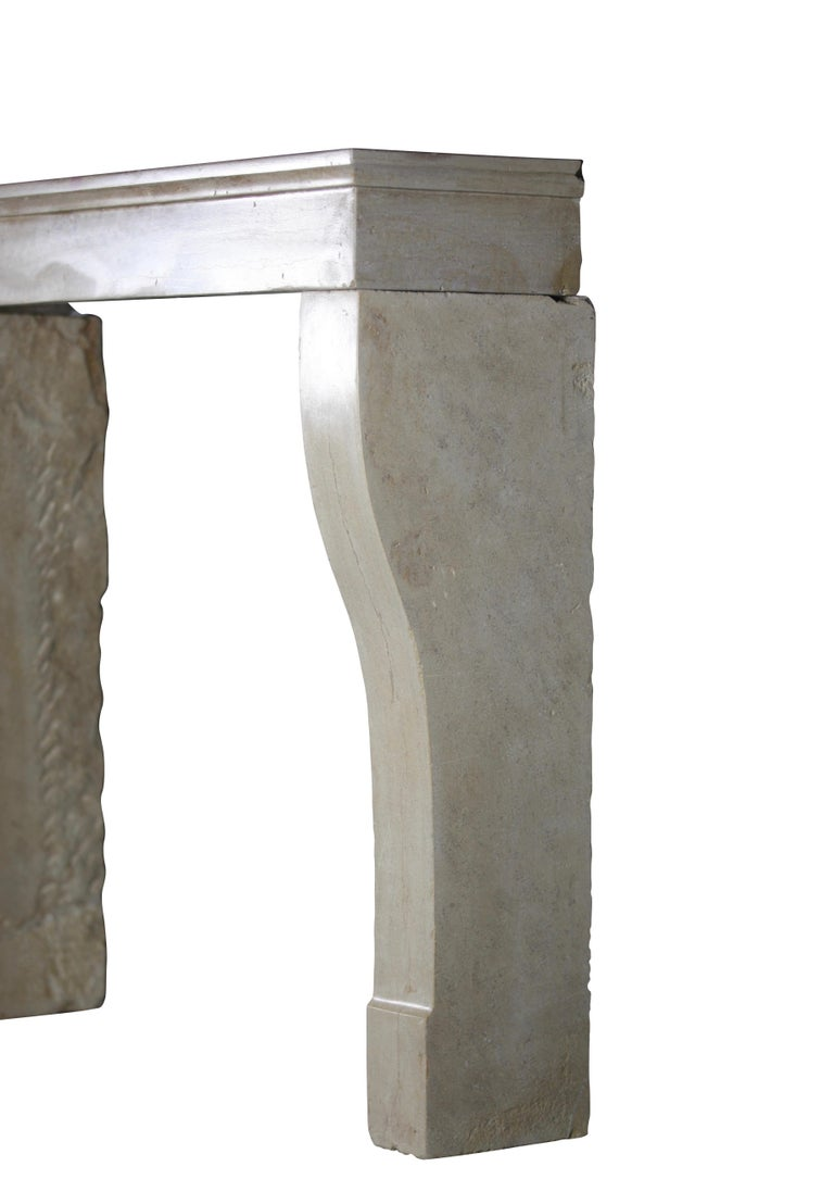 19th Century Fine French Antique Fireplace Surround in Limestone In Excellent Condition For Sale In Beervelde, BE