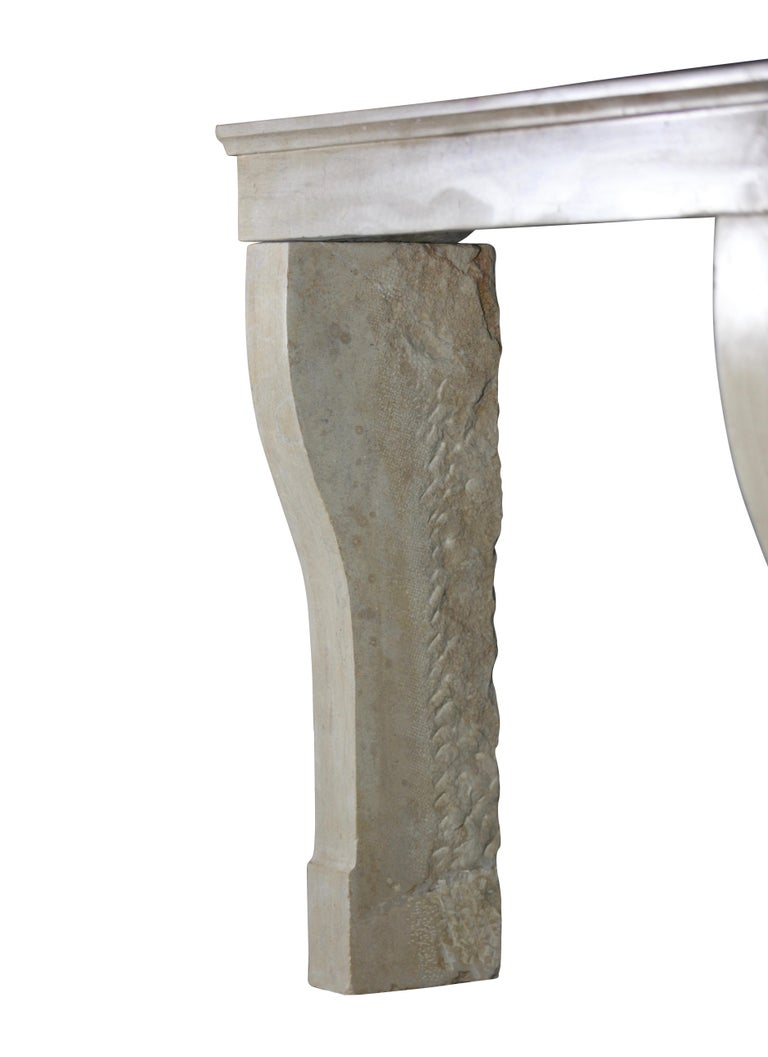 19th Century Fine French Antique Fireplace Surround in Limestone For Sale 1