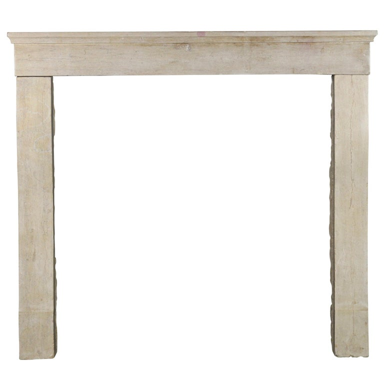 19th Century Fine French Antique Fireplace Surround in Limestone For Sale