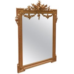 19th Century Fine French Gilt Carved Mirror with Fine Details