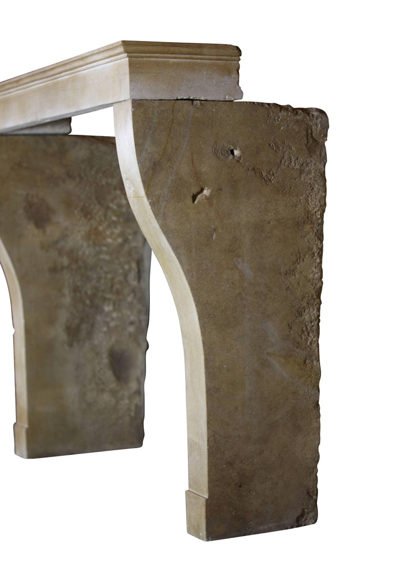 Stone 19th Century Fine French Limestone Antique Fireplace Surround For Sale