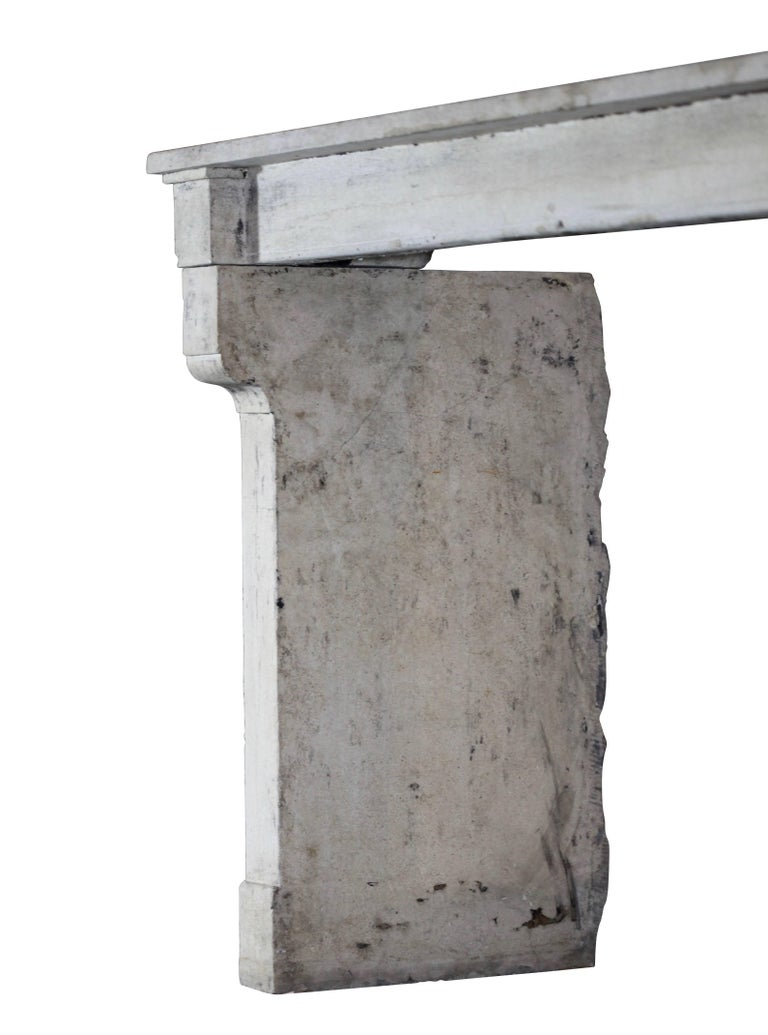 19th Century Fine French Rustic Limestone Antique Fireplace Surround For Sale 2